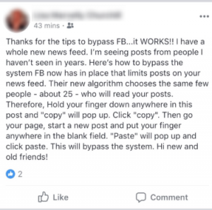 Facebook Security Hoax Example
